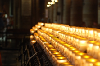 Votive candles at Notre Dame (Paris)